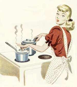 1950s woman cooking